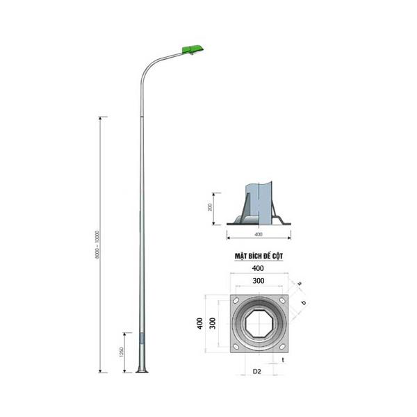 Cột đèn bát giác liền cần đơn