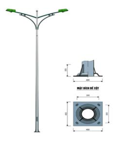 Cột đèn tròn côn rời cần
