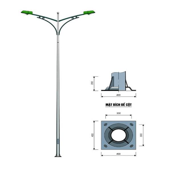Cột đèn tròn côn rời cần kép