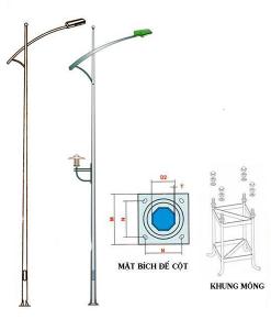 cột đèn bát giác ròi cần đơn