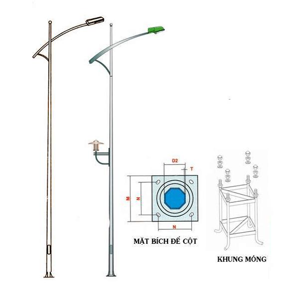 Cột đèn bát giác rời cần đơn