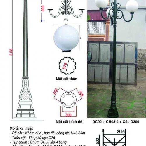 trụ đèn sân vườn dc02- 1