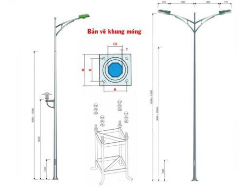 Cấu tạo cột đèn cao áp rời cần