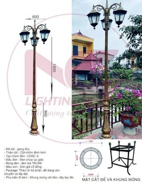 Lắp đặt và bố trí cột đèn sân vườn